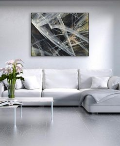 Ambientazione salotto Pennellate bianche che si incrociano su uno sfondo nero