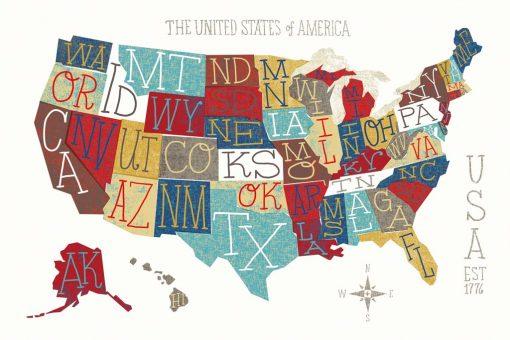 Cartina colorata degli Stati Uniti con sigle dei vari stati
