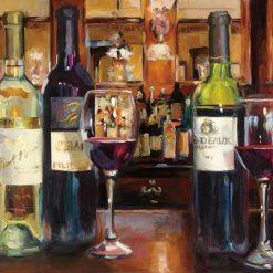 Bottiglie di vino su un bancone in stile rétro