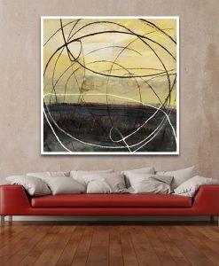 Ambientazione salotto Dipinto astratto con linee circolari