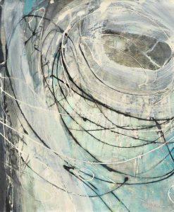 Dipinto sfumato astratto con linee circolari