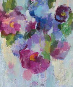 Dipinto astratto di fiori con effetto spugnato