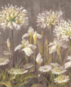 Vari fiori bianchi su sfondo grigio scuro