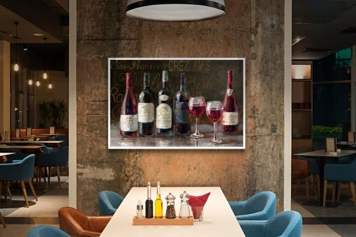 Bottiglie di vino di un bistrò