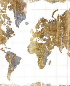 Cartina del mondo dorata
