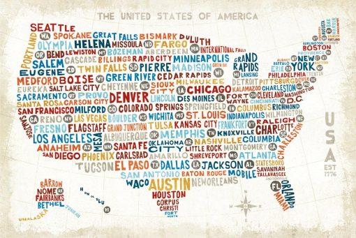 Cartina degli Stati Uniti composta dai nomi delle varie città