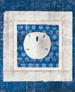 Quadretto con conchiglia color bianco e blu