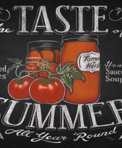 Illustrazione su lavagna di una conserva di pomodori fresca