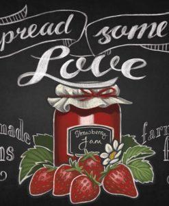 Illustrazione su lavagna di una conserva di fragole fresca