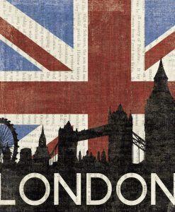 Bandiera del Regno Unito con il profilo della famosa capitale europea