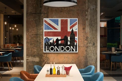 Ambientazione Bandiera del Regno Unito con il profilo della famosa capitale europea