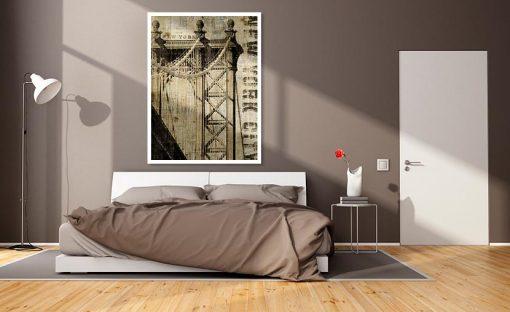 Ambientazione Stampa vintage del ponte di Manhattan