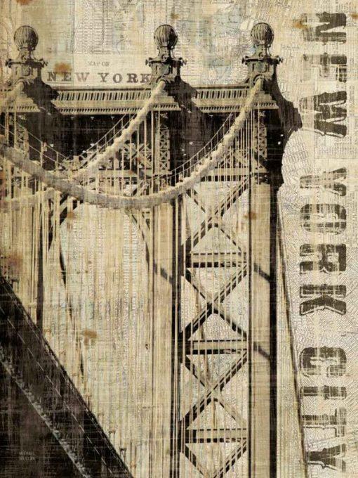 Stampa vintage del ponte di Manhattan