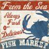 Cartello pesce fresco in stile vintage