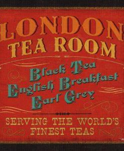 Insegna di una sala del tè a Londra