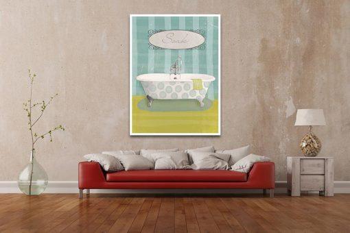 Ambientazione salotto Vasca da bagno a pois