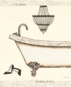 Dipinto di una vasca su carta di giornale