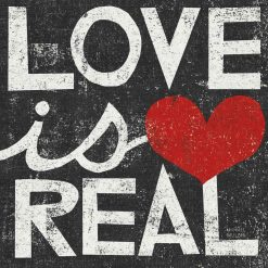 "Scritta decorativa in stile grunge ""love is real"""