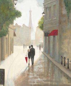 Due innamorati passeggiano per le strade di Parigi