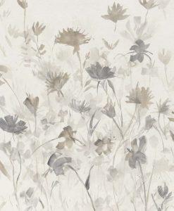 Insieme di fiori delicati in grigio e bianco