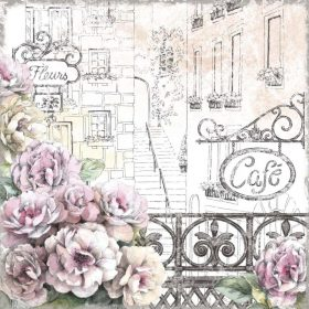 Balcone fiorito con vista su un cafè