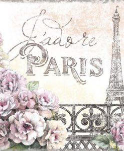 Balcone fiorito con la tour Eiffel