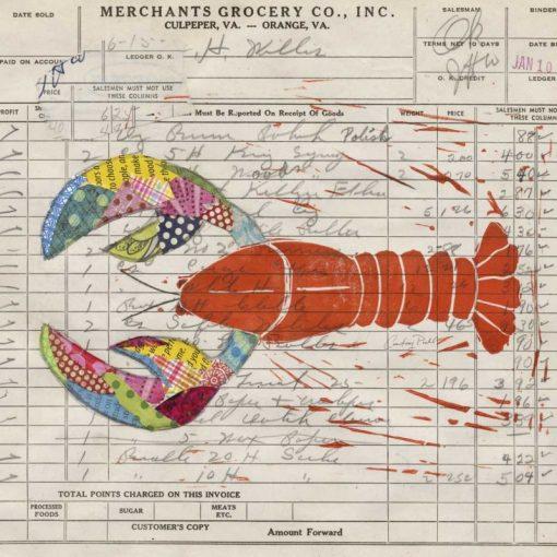 Aragosta colorata disegnata su una fattura