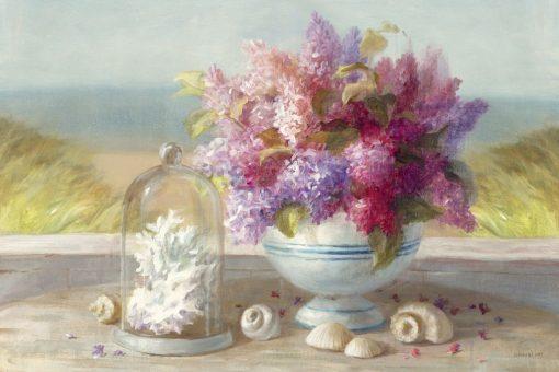 Dipinto con vaso di fiori sul mare