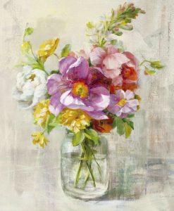 Dipinto di eleganti fiori in stile boheme