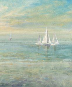 Dipinto astratto di un'alba sul mare con barche