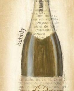 Bottiglia di champagne con effetto carta di giornale