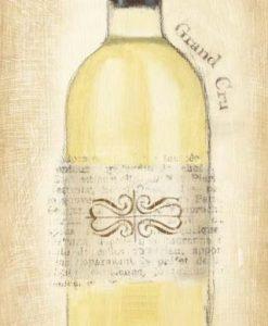 Bottiglia di vino bianco con effetto carta di giornale