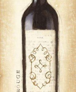 Bottiglia di vino rosso con effetto carta di giornale