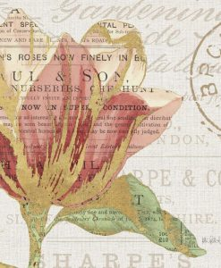 Composizione botanica con fiore e scritte