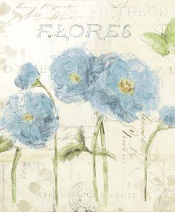 Composizione con romantici fiori azzurri