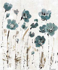 Fiori di campo blu astratti su texture bianca