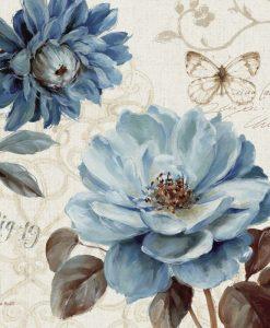 Peonia blu su sfondo decorato