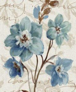Fiori blu su sfondo decorato
