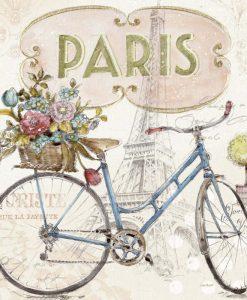 Illustrazione di una bicicletta col cestino pieno di fiori