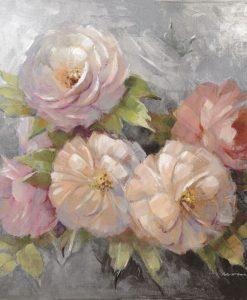 Dipinto di rose su sfondo grigio