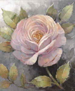 Dipinto di una rosa su sfondo grigio