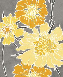 Illustrazione decorativa di fiori gialli su sfondo grigio