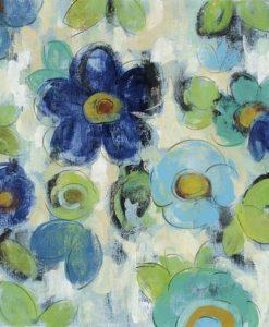 Pattern dipinto con fiori blu