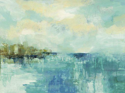 Dipinto astratto con costa marina e orizzonte