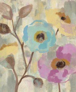 Dipinto di fiori azzurri e rosa con effetto vintage