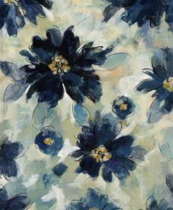 Illustrazione con fiori blu scuro