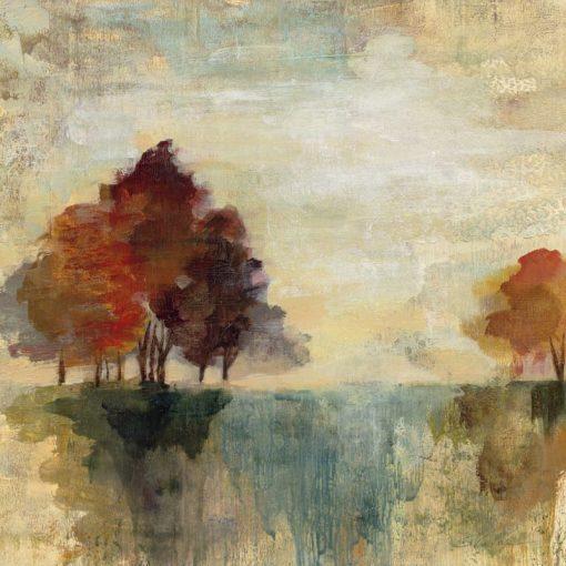 Dipinto di un paesaggio di campagna dai toni freddi