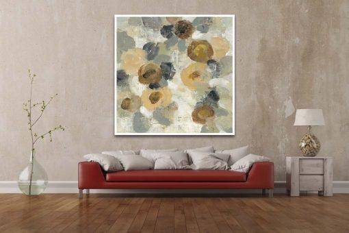 Dipinto di fiori astratti con macchie di colore sfumate