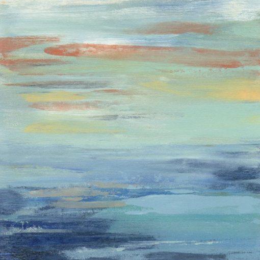 Dipinto astratto di un tramonto sul mare