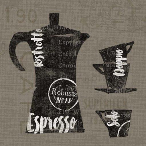 Illustrazione grafica con moca e tazzine del caffè